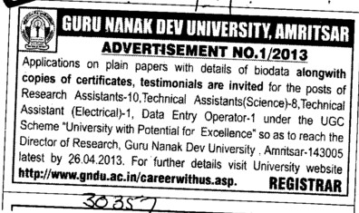 Research Associate and Technical Asstt (Guru Nanak Dev University (GNDU))