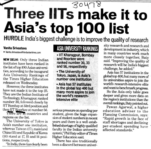 Three IITs make Asias top 100 list (Indian Institute of Technology (IITR))