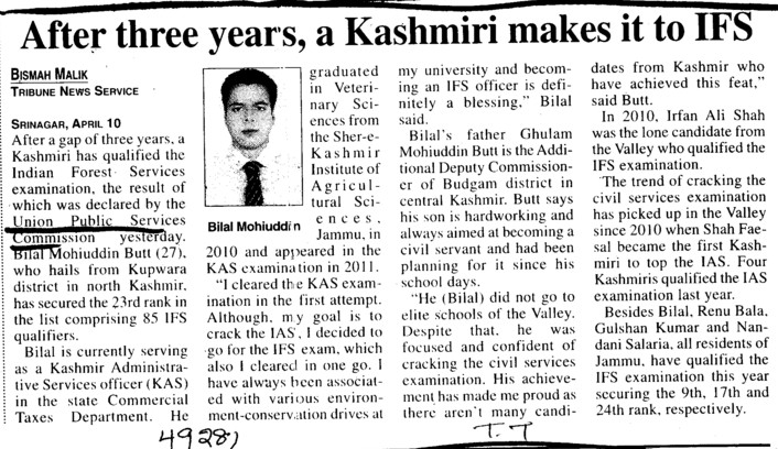 After 3 years, a Kashmiri makes it to IFS (Union Public Service Commission (UPSC))