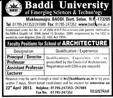 Director, Professor and Lecturer (Baddi University of Emerging Sciences and Technologies)