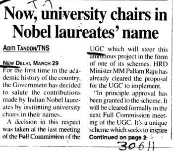 Now, University chairs in Nobel laureates name (University Grants Commission (UGC))