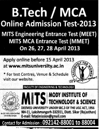 BTech and MCA (Modi University of Science and Technology (MITS))