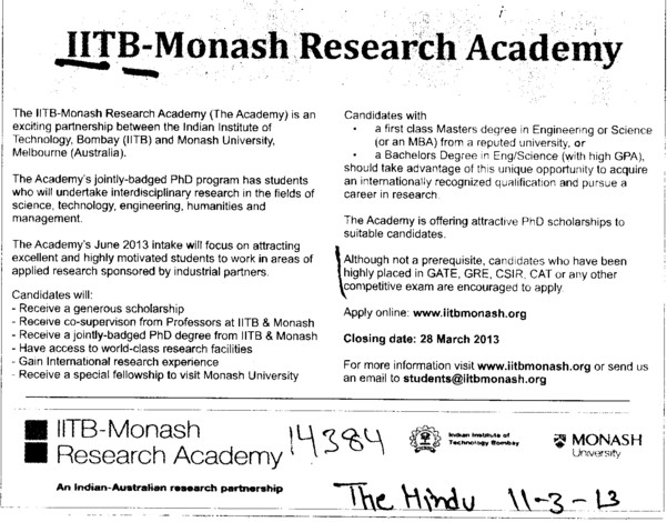 Monash Research Academy (Indian Institute of Technology (IITB))