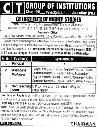 Principal and Asstt Profssor (CT Institute of Higher Studies Shahpur)