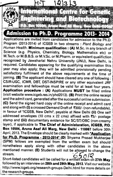 PhD Programme (International Centre for Genetic Engineering and Biotechnology)