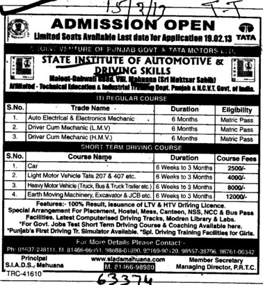 Car and Light Motor Vehicle courses (State Institute of Automotive and Driving Skill)
