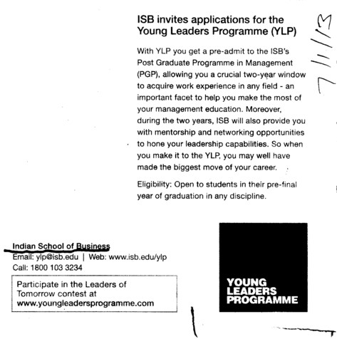 Post Graduate Programme in Management (Indian School of Business Chandigarh Mohali Campus)
