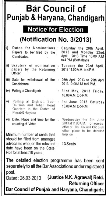 Notice for Election (Bar Council of Punjab and Haryana)