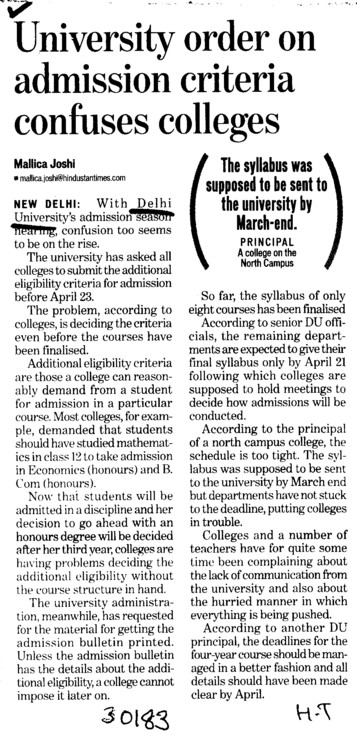 University order on admission criteria confuses colleges (Delhi University)