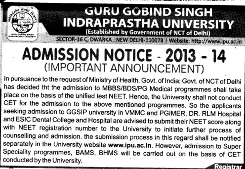 MBBS and BDS Courses (Guru Gobind Singh Indraprastha University GGSIP)
