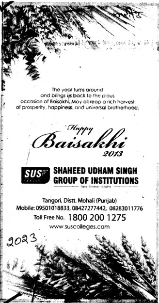 Wishes for Baisakhi Festiwal (SUS Group of Institutions)