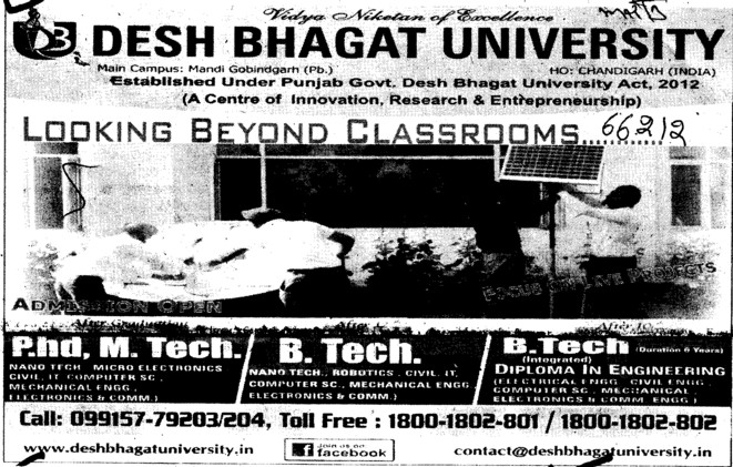BTech, MTech and PhD Programmes (Desh Bhagat University)