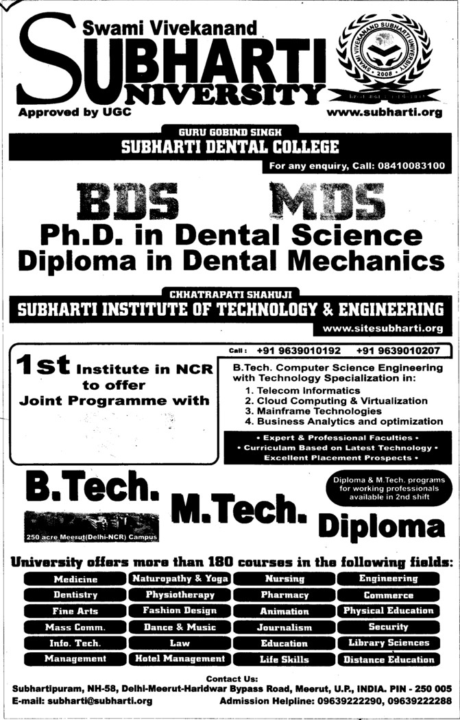 BDS and MDS (Swami Vivekanand Subharti University)
