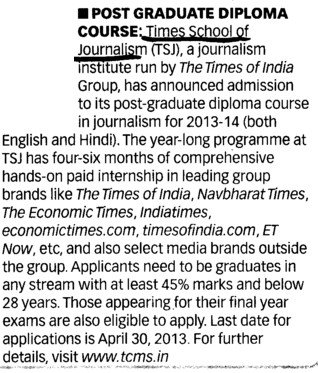 PG Diploma Course in Journalism (Times School of Journalism)