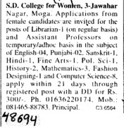 Asstt Professor and Librarian (SD College for Women)