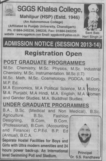 MA, MSc, BCom and CPEd Courses (SGGS Khalsa College)