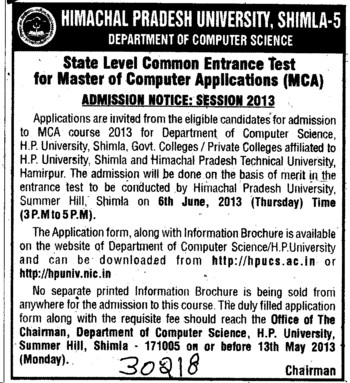 MCA (Himachal Pradesh University)