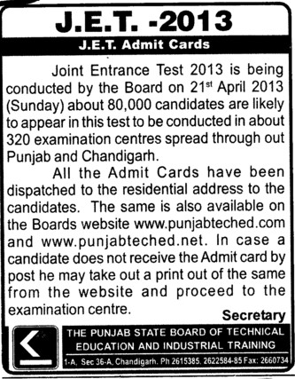 JET Admit Cards (Punjab State Board of Technical Education (PSBTE) and Industrial Training)