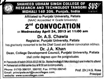 2nd Convocation 2013 (Shaheed Udham Singh College of Research and Technology)