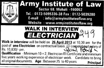 Electrician (Army Institute of Law)