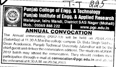Annual Convocation Program (Punjab College of Engineering and Technology)