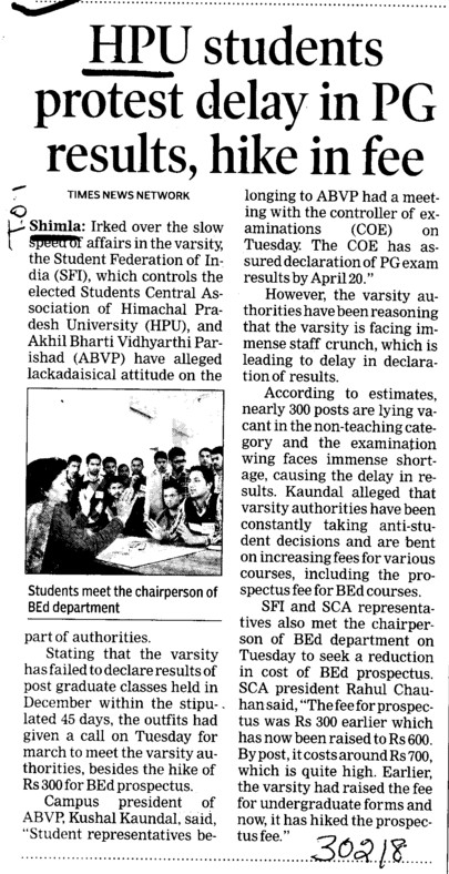 Students protest delay in PG results (Himachal Pradesh University)
