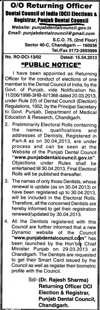 Elections for membership of DCI (Punjab Dental Council)