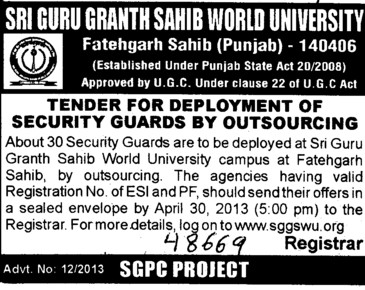 Deployment of Security Guards (Sri Guru Granth Sahib World University)