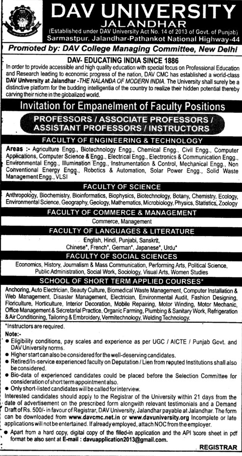 Professor and Instructor Vacancies 2013 (DAV University)