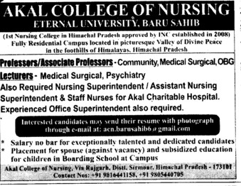 Baru Sahib Eternal University http://www.punjabcolleges.com/30912-indiacolleges-Akal-College-of-Nursing-Eternal-University-Baru-Sahib/