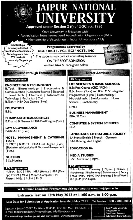 MTech, PhD and B Pharm Courses (Jaipur National University)