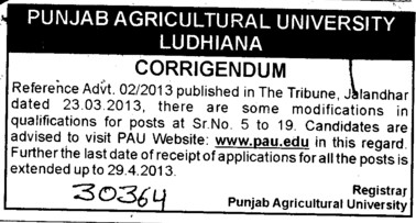 Changes in Vacancy (Punjab Agricultural University PAU)