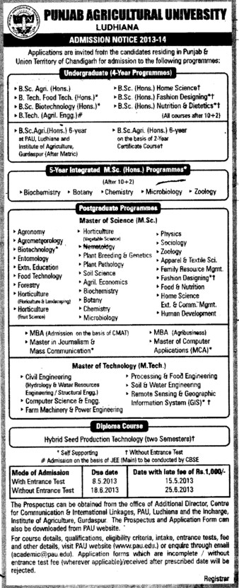 BSc in Biotechnology (Punjab Agricultural University PAU)