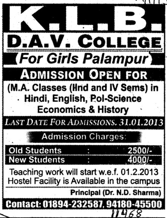 MA in Hindi and English (KLB DAV College for Girls)
