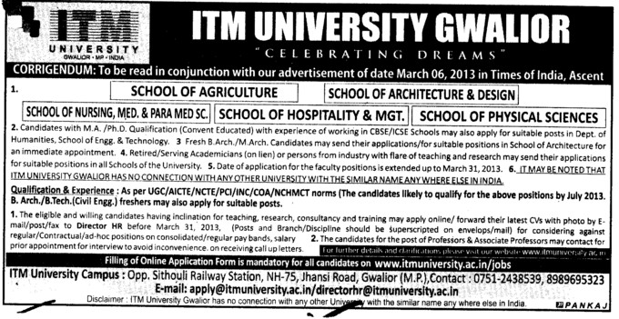 Appearing candidates may also apply (ITM University)