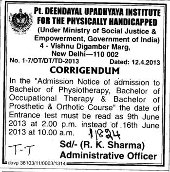 Bachelor of Physiotherapy (Pandit Deendayal Upadhyaya Institute for the Physically Handicapped (PDDUIPH))