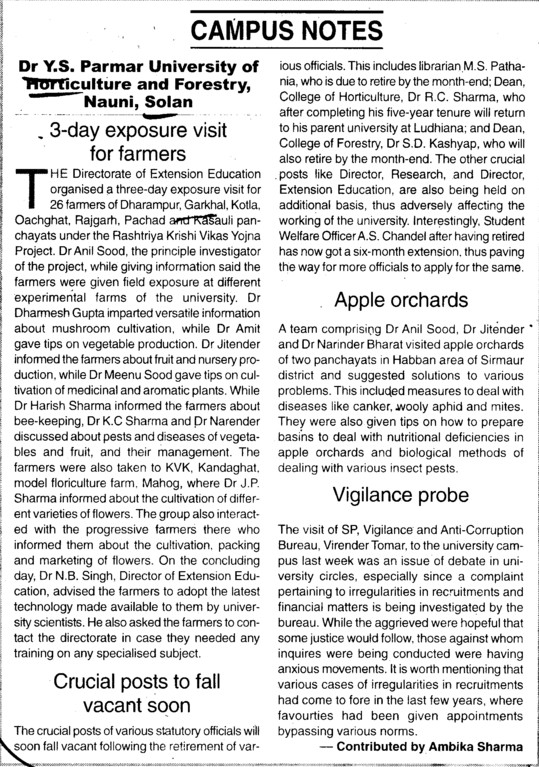 Apple orchards and Vigilance probe (Dr Yashwant Singh Parmar University of Horticulture and Forestry)