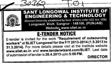 Outsourcing works (Sant Longowal Institute of Engineering and Technology SLIET)