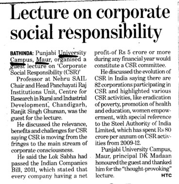 Lecture on corporate social responsibility (Punjabi University Neighbourhood Campus)