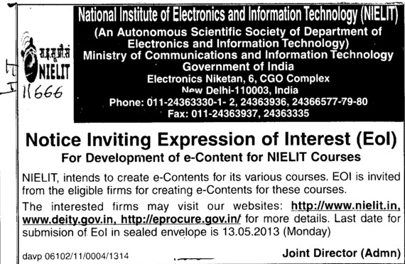 Development of e content for NIELIT courses (NIEIT DOEACC Society)