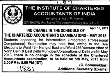 No change in Exam dates (Institute of Chartered Accountants of India (ICAI))