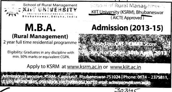 MBA in Rural Management (KIIT University)