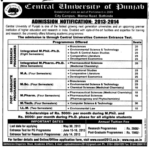 MA and PhD Programmes (Central University of Punjab)