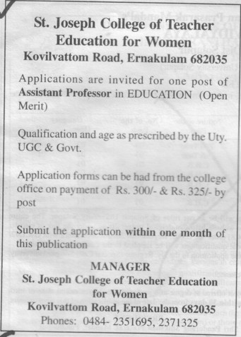 Asstt Professor in Natural Science Education (St Joseph College of Teachers Education For Women)