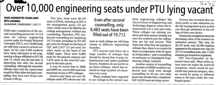 Over 10,000 engg seats vacant (IK Gujral Punjab Technical University PTU)