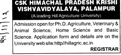 PhD in Veterinary and Animal Science (Chaudhary Sarwan Kumar (CSK) Himachal Pradesh Agricultural University)