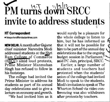 PM turns SRCC invite to adress Students (Shri Ram College of Commerce)
