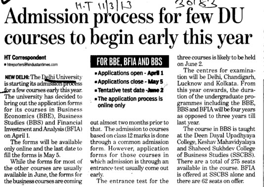 DU courses to begin early this year (Delhi University)