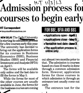 Admission process for courses to begin early (Delhi University)
