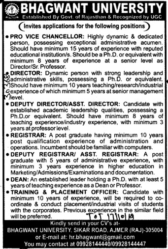 Director VC and Registrar (Bhagwant University)